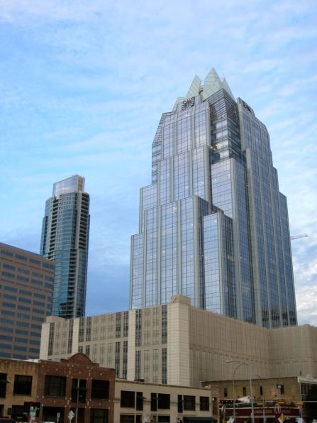 Frost Bank Tower. 33 floors & 3rd tallest building in Austin. People say its owl face helps keep Austin weird.