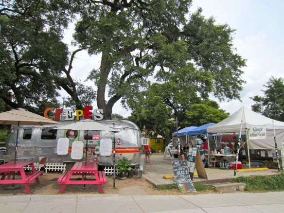 Austin has a lot of food trucks. Here's a crepe place in a space shuttle