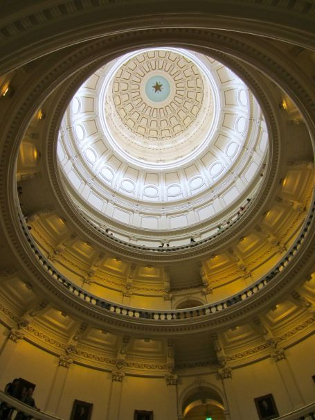 Looking up from the rotunda of the Texas State Capitol