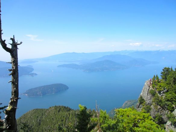 From St. Mark's Summit, you can see Bowen Island (the large one on the left) and the smaller Anvil Island (centre)