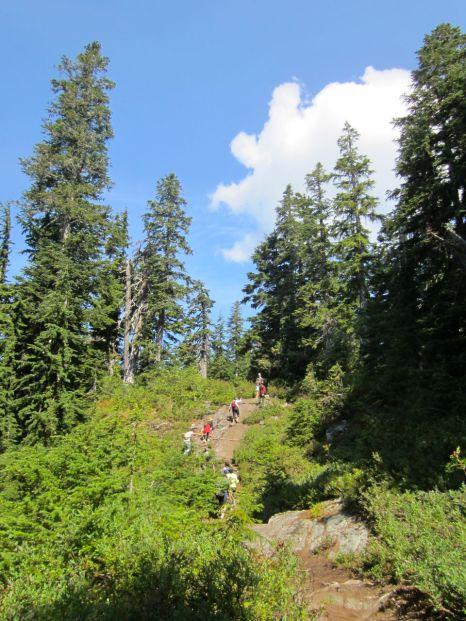 Climbing over a rock near the top