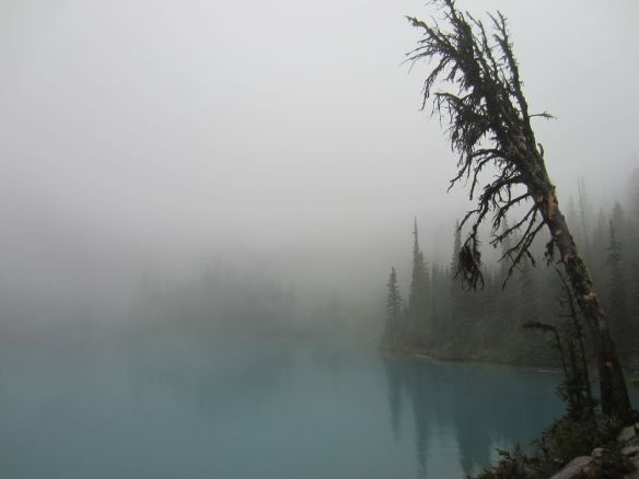The Middle Joffre Lake ghosting into view